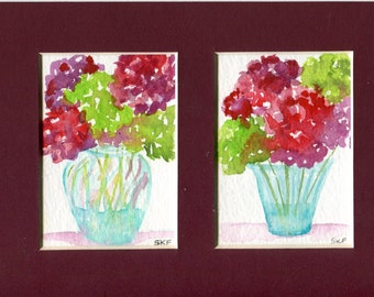 Set of 2 ACEO Original Hydrangeas watercolor paintings in 5 x 7 mat, 2 openings, original green, red,  hydrangeas painting, art cards