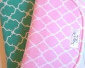 Chenille Burp Cloths for Baby Girl  - Set of 2 - Super Absorbent Triple Layer Chenille  - Pink & Mint, Teal Quatrefoil