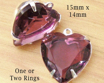 Amethyst Purple, Heart Pendant, Earring Jewels, Silver Settings, One or Two Rings, Rhinestone Beads, 15mm x 14mm, Cabochon, One Pair