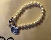 Swarovski Pearl Silver Initial Bracelet