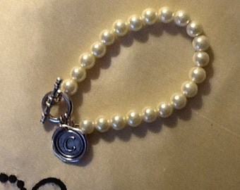 Swarovski Pearl Silver Initial Bracelet--Your Choice of Initial
