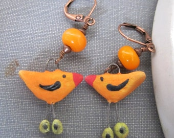 Ceramic Earrings, Copper Earrings, Bird Earrings, Clay Earrings, Orange Birds, Ceramic Charms