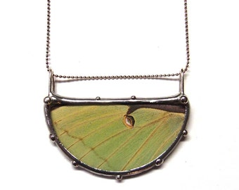 Luna Moth Necklace - Real Butterfly Jewelry - Luna Moth Half Moon Semi Circle - Moon Necklace
