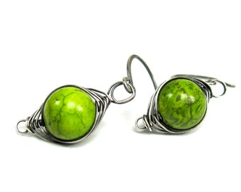 Wasabi Green Jasper, Herringbone wrapped Sterling Silver Earrings