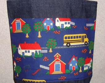 New Handmade Medium School Playground Teacher Bus Denim Tote Bag