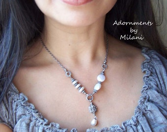 Pearl Necklace Vintage Patina Asymmetrical Beaded White Sterling Silver