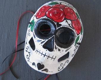 dia de los muertos paper mask - hand painted day of the dead decor - halloween decor  - skull mask