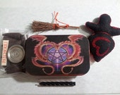 Mini Goddess Doll With Carry Tin Mini Altar Box Black With Red Hearts
