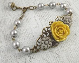 Mustard Yellow Gray and Brass Filigree Flower Bracelet