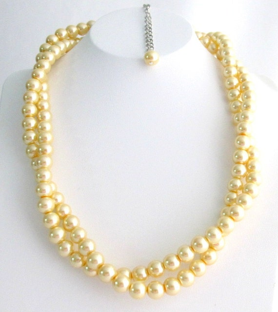 Bridesmaid Yellow Pearl Twisted Necklace, Affordable Price, Bridal Jewelry, Flower Girl Necklace Free Shipping In USA