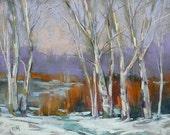 WINTER Landscape Snow Trees  Original Pastel Painting Karen Margulis 11x14