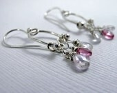 Pink Tourmaline and Cubic Zircon Drops - Sterling Silver and Tourmaline and CZ Earrings