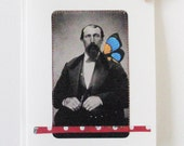 Greeting card, Man, collage, one of a kind, stitched, matching envelope, Butterfly Man, Father's Day