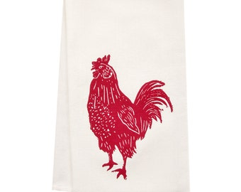 ORGANIC rooster tea towel block print