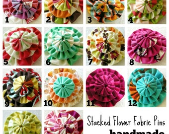 Stacked Flower - small fabric brooch