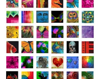 Mix of Color No. 1 - 1x1  - Digital Collage Sheet - Instant Download