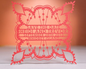 Bohemian Save the Date, Laser Cut