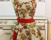 Apron Christmas Ornaments on Light Blue MAGGIE Retro Full Apron