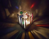 Chakra Khan Reflections (Triangle Shaped Rainbow Themed Stained Glass Candle Holder)