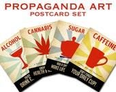 Propaganda Postcards - Caffeine Addict, Marijuana Poster, Sweet Tooth, Alcoholic, Vintage Posters, Cannabis Artwork, Coffee Art Print