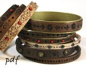 Tutorial bracelets, faux tooled leather bangles, polymer clay, eBook, pdf, DIY, instant download