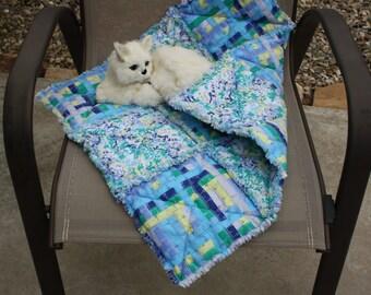 Cat Blanket, Cat Bed, Blue Cat Bed, Cat Quilt, Small Dog Blanket, Luxury Pet Bed, Cat Accessories, Crate Mat, Travel Bed, Handmade Cat Quilt