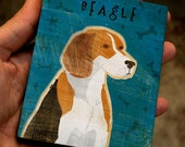 "Beagle Art Block 4""x5""- Dog Art Print- Beagle Print- Dog Wall Decor- Beagle Gifts- for Dog Lovers- Gifts for Pet Lovers- Dog Gifts for Boss"