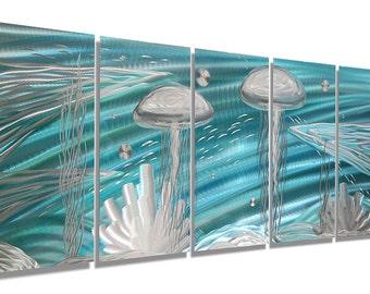 Aqua/Silver Underwater Metal Painting - Modern Metal Wall Art - Nautical Home Decor - Tropical Artwork - Aquatic Sea Jon Allen