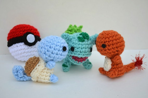 Crochet Patterns Pokemon Characters : Peluche Pokemon Amigurumi Kanto Starter Set Carapuce Salameche