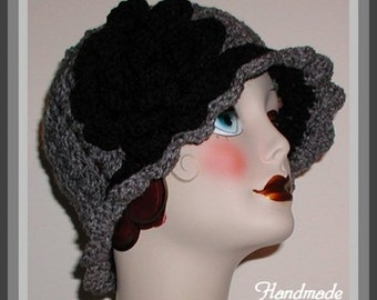 Black Gray Hat Cloche Gray Flapper Large Rose Flower Winter Hats Women