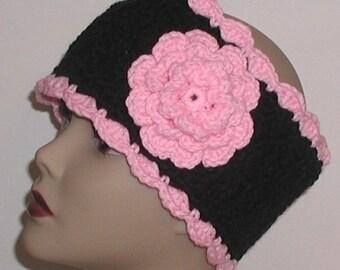 Pink Black Ear Warmer Black Headband Pink Rose Flower Head Ski Head Band Extra Wide
