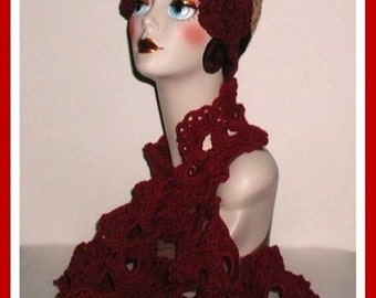 Queen Anne's Lace Scarf Light Burgundy Scarf Lacey Women's Winter Accessory Cranberry Red