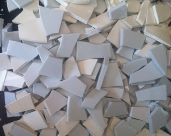Mosaic Tiles Pounds White Broken Plate Tesserae Pieces Art Supply Solid Filler 300