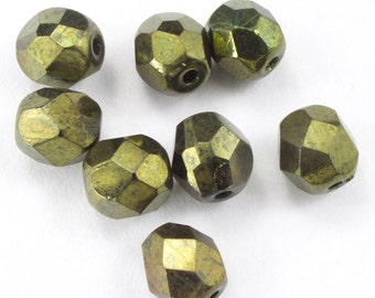 6mm Metallic Olive Fire Polished Bead (25 Pcs)  #GBD153