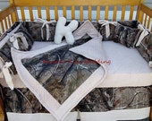 New READY TO SHIP brown Real Tree Camouflage baby crib bedding set w/ beige minky dot fabric camo