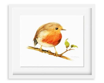 Little Robin Bird Painting - Watercolor Robin Bird - 8 by 10 print - Watercolor Painting, Archival Print, Home Decor, Nature Art