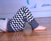 Sale Children Harem Pants, Girl Pants, Boy Pants, Chevron Polka Dots Navy Blue Size 4