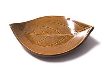 Ceramic Plate /  Spoon Rest, Persimmon Leaf, Turkish Amber