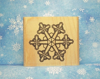 Celtic Cross Snowflake Rubber Stamp Celtic Knotwork Winter Holiday Christmas Crafting #473