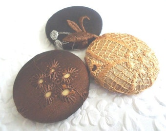 3 brown gold buttons, fabric buttons, covered buttons, textured buttons, 1.5 inch button, size 60 buttons