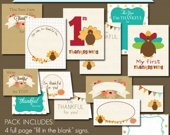 Printable Thanksgiving Signs Instant Download Thanksgiving Placecards Thanksgiving Greeting Cards My First Thanksgiving