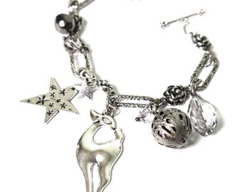 Silver Christmas Charm Bracelet With a Deer Charm