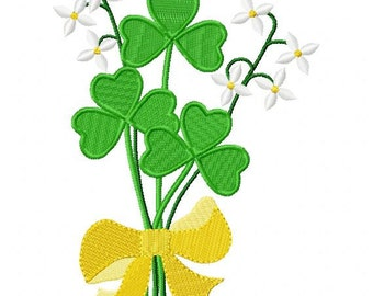 Machine Embroidery Design. St. Patricks Day Shamrocks and Flowers  ( 5 x 7 HOOP SIZE) digital download