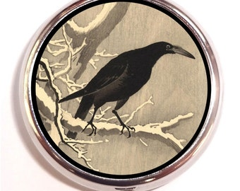 Crow Woodblock Painting Pill box Pillbox Case Sweetheartsinner