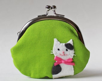 coin purse change purse lime green white cat gray spots pink bow kiss lock purse clasp purse frame pouch kitty kitten cat purse cute pet