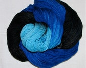 Hand dyed superwash sock yarn ALL THE BLUES