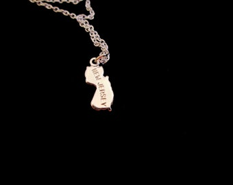 State Necklace - Teensy Tiny SILVER New Jersey State Charm Necklace - Limited Edition Museum Collection