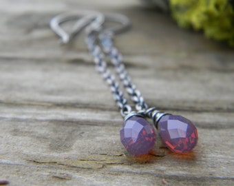 cyclamen opal earrings - oxidized silver dangles
