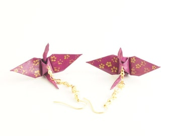 Hearts and Flowers, Mulberry Plum Origami Crane Earrings with Gold Cherry Blossoms