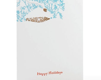 House in snow set of 6 letterpress note cards
